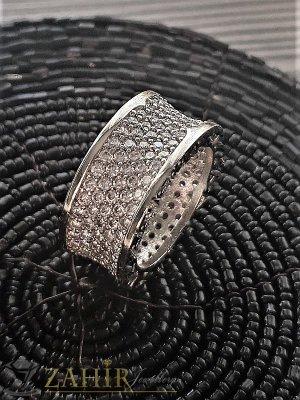 Най-харесваната халка широка 1 см с бели ковани кристали и сребърно покритие - P1378