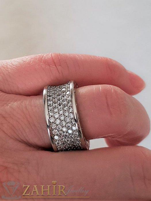 Дамски бижута - Най-харесваната халка широка 1 см с бели ковани кристали и сребърно покритие - P1378
