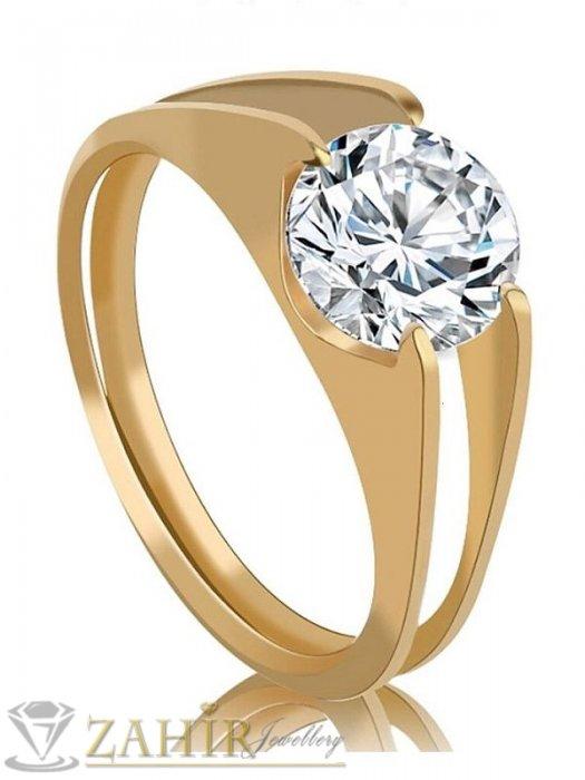 Дамски бижута - Нежен пръстен с голям циркон , стомана със златно покритие, високо качество- P1392