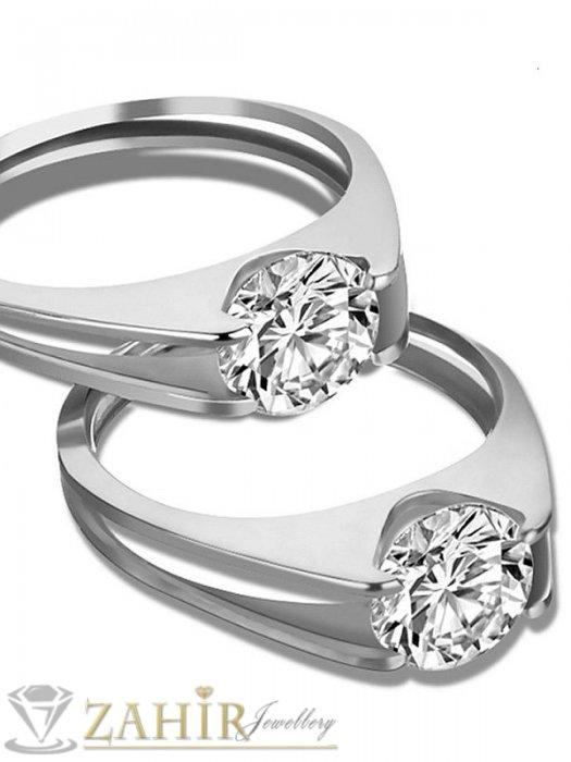 Дамски бижута - Най-висок клас стоманен пръстен с красив цял циркон,не променя цвета си- P1393