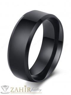 Супер стилен класически пръстен тип халка от черна оксидирана стомана, широк 0.8 см - P1394
