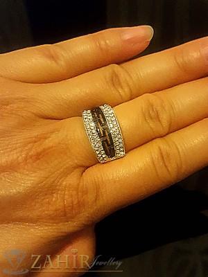 Стилен пръстен с двуредови кристали и гръцки мотиви, златно покритие - P1416