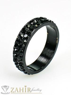 Класически черен пръстен тип халка с черни кристали - P1369