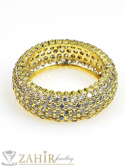 Дамски бижута - Великолепен пръстен изящна изработка в кристали и златно покритие - P1376