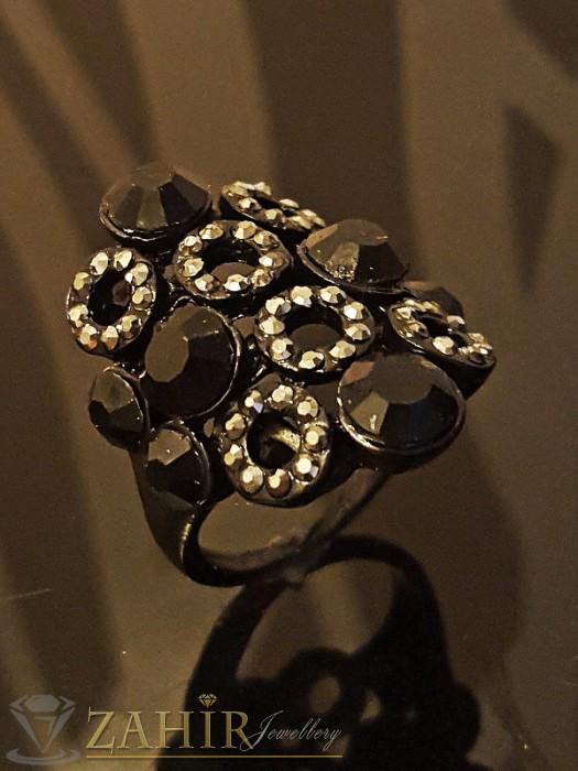 Дамски бижута - Стилен черен пръстен с графитени и черни кристали - P1410