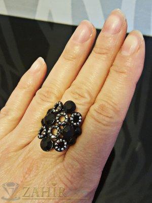 Стилен черен пръстен с графитени и черни кристали - P1410