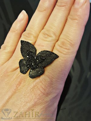 Красива гравирана черна пеперуда пръстен с черни кристали, регулиращ се - P1413