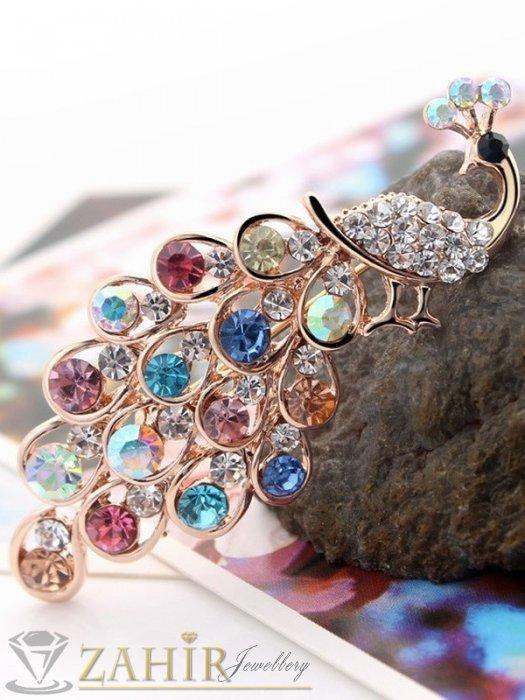 Дамски бижута - Луксозна брошка 6 см цветен паун с великолепни кристали и златно покритие - B1073