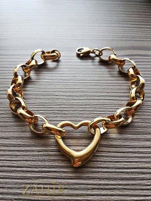 Висококачествена стоманена гривна в 4 размера със сърце 2 см и златно покритие, ширина на верижката 0,8 см - G1840