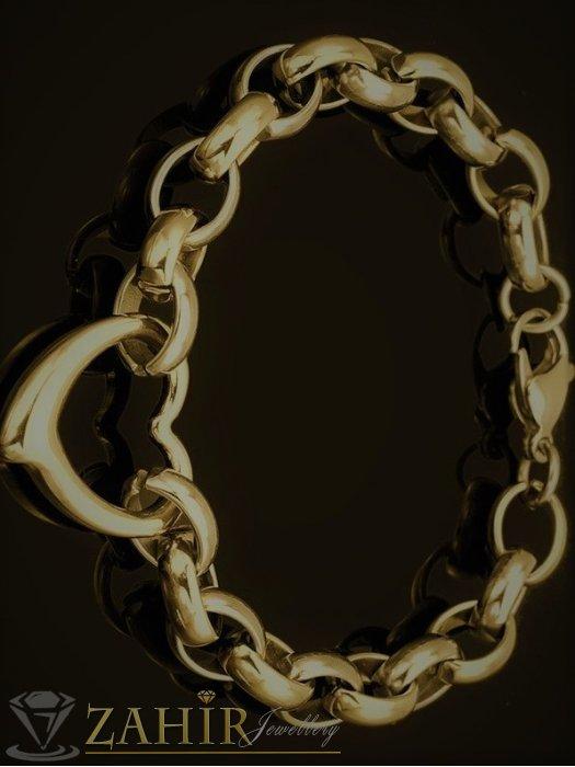 Дамски бижута - Висококачествена стоманена гривна в 4 размера със сърце 2 см и златно покритие, ширина на верижката 0,8 см - G1840