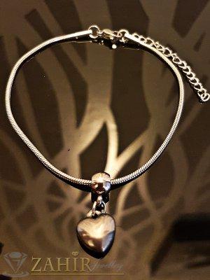 Изчистена стоманена гривна 19 + 5 см тип верижка с висулка стоманено сърце - G1844