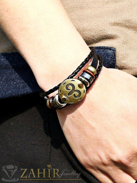 Дамски бижута - Класическа черна кожена гривна 19 см със зодия Овен и метални елементи - G1855