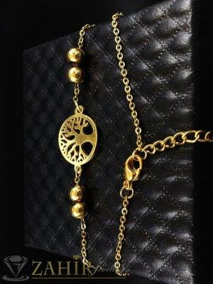 ХИТ - много нежна стоманена гривна за ръка или крак със символ Дървото на живота на класическа верижка, регулираща се дължина - G1866
