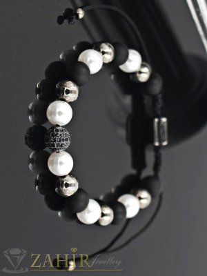 Елегантна ръчно изработена черно-бяла гривна с хематит, оникс и микро кристал, регулираща се - G1884