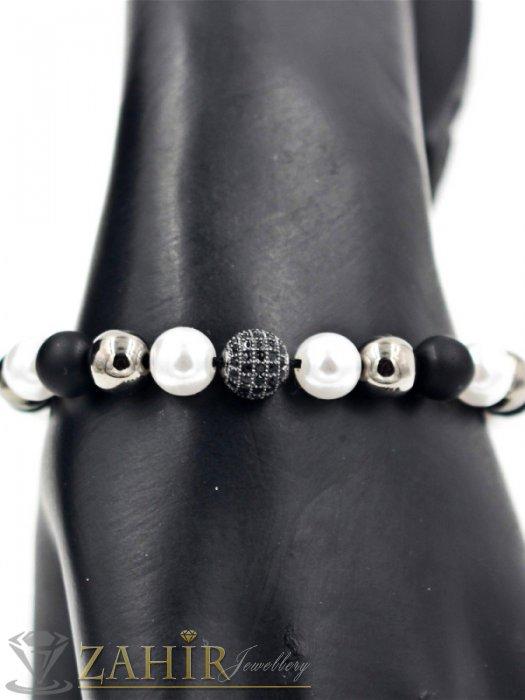 Дамски бижута - Елегантна ръчно изработена черно-бяла гривна с хематит, оникс и микро кристал, регулираща се - G1884