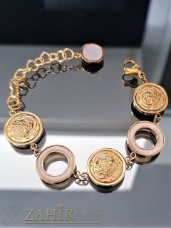 Елегантна гривна от стомана и седеф, регулира се от14 до 19 см, златно покритие - G1898