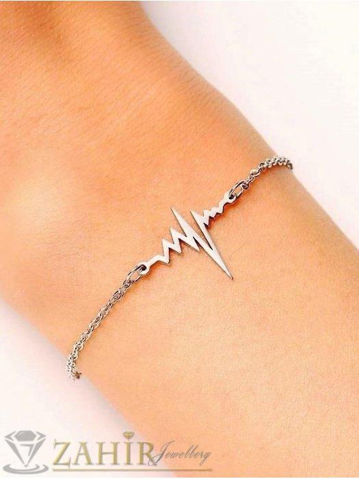 Дамски бижута - Супер качество верижка за ръка от стомана класическа верижка със сърдечен ритъм, не променя цвета си, дължина 17 см и удължител 5 см - G1901