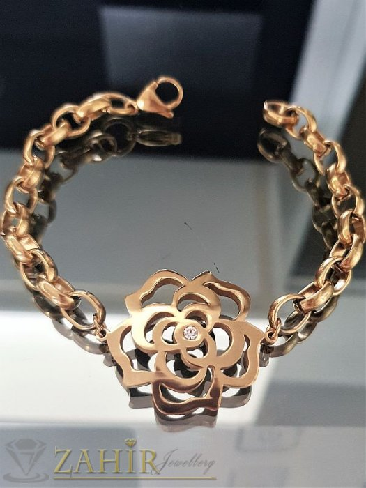 Прекрасна стоманена гривна цвете на верижка в 3 размера, златно покритие- G1928