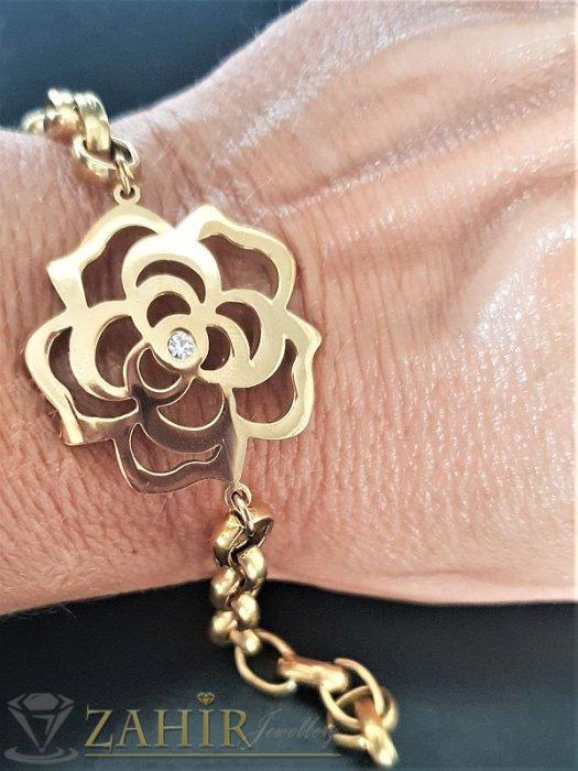 Дамски бижута -Прекрасна стоманена гривна цвете на верижка в 3 размера, златно покритие - G1928