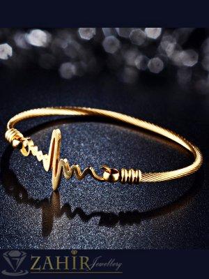 Красива стоманена гривна голям размер 19 см със златно покритие, елемент сърдечен ритъм - G1935
