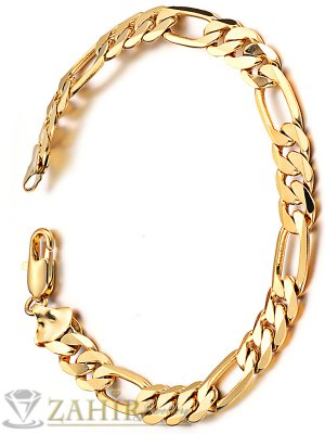 Стилна стоманена гривна класическа плетка, широка 0,7 см, златно покритие, 4 дължини - GS1235
