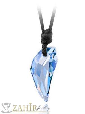 Прозрачен небесно син кристален зъб 2,5 см на регулираща се черна връв - K1652
