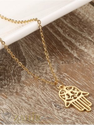 Ръката на Фатима 3 см, против уроки на нежна верижка 50 см, стомана със златно покритие - K1653