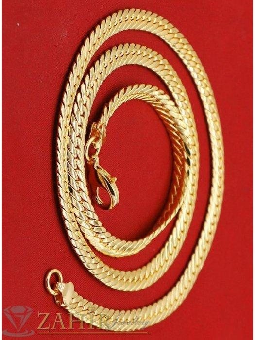 Впечатляващ стоманен змийски ланец 55 см,широк 0,7 см,топ-модел, златно покритие - K1655