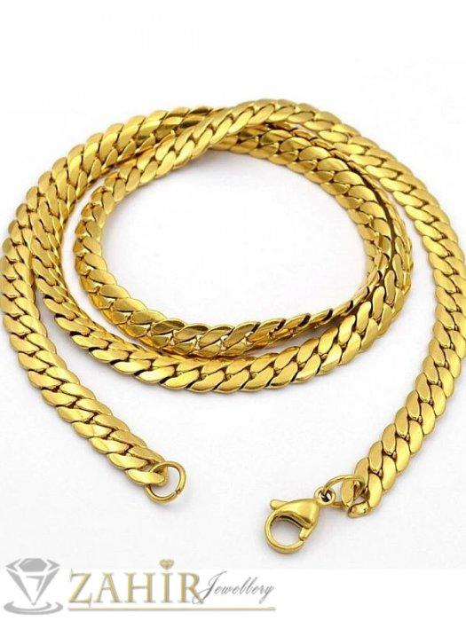 Дамски бижута - Впечатляващ стоманен змийски ланец 55 см,широк 0,7 см,топ-модел, златно покритие - K1655