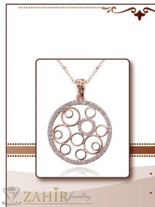 Дамски бижута - Изящен дизайнерски медалион - 3 см с бели кристали и златно покритие - 45 см - K1657