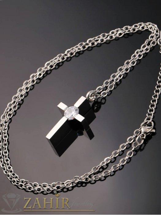 Дамски бижута - Изящен стоманен кръст 3 см с голям инкрустиран кристал на стоманена верижка 50 см - K1660