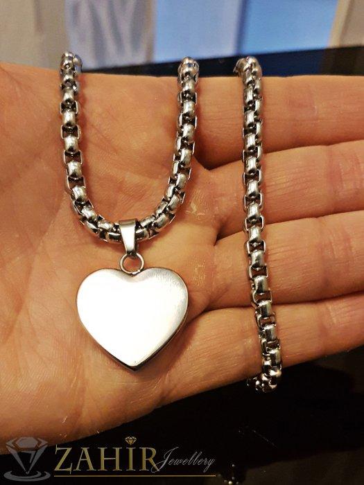 Висококачествено стоманено сърце 2 см на стоманен ланец 55 см - K1666
