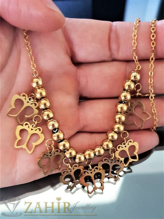 Дамски бижута -Стоманено  нежно колие 55 см с висулки рязани пеперуди, златно покритие - K1703