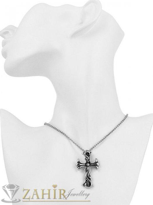 Дамски бижута - Уникална изработка и най-висок клас стомана на кръст 3,5 см и стоманена верижка 0,3 см, 4 дължини- K1713