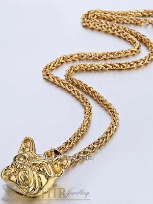 Стилен мъжки ланец 60 см с висулка Булдог 3 см, златно покритие, стоманена основа - K1732