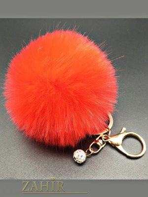 Стилен ключодържател червено пухено топче с висулка шамбала мънисто, диаметър 6 см - KL1019