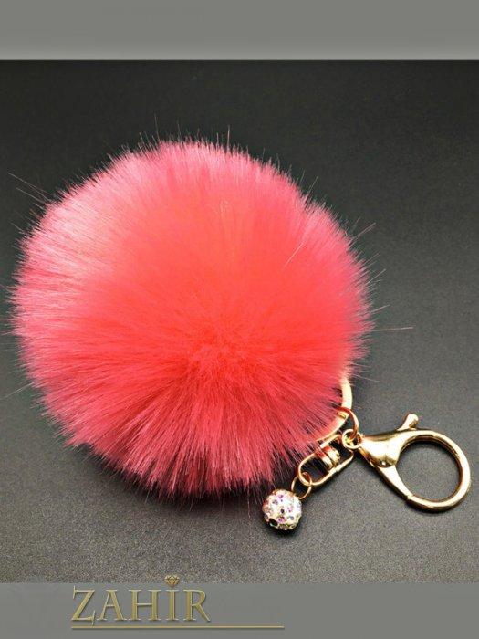 Ключодържател тъмно розово пухено топче с висулка шамбала мънисто, диаметър 6 см - KL1020
