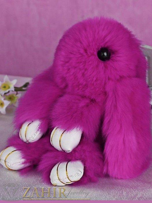 Пухест тъмно розов заек 13 см, аксесоар за чанта или ключодържател - KL1030