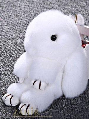 Пухест бял заек 13 см, аксесоар за чанта или ключодържател - KL1031