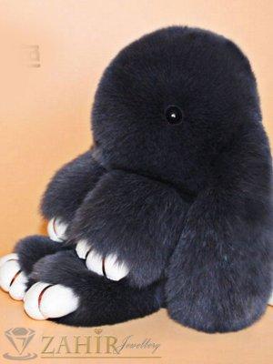 Пухест тъмно сив заек 13 см, аксесоар за чанта или ключодържател - KL1035