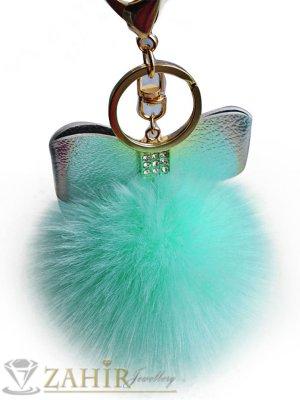 Светло зелено пухено топче с аксесоар пандела, подходящо за чанта - KL1041
