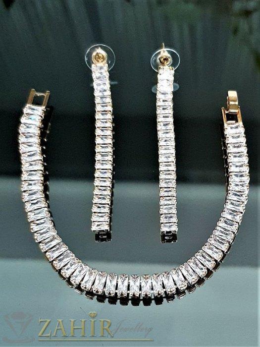 Дамски бижута - Зашеметяващ луксозен кристален комплект обеци 6 см и гривна 18 см с изящни блестящи кристалчета, златно покритие - KO1715