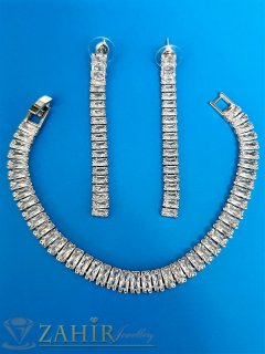 Уникален луксозен кристален комплект обеци 6 см и гривна 18 см с изящни блестящи кристалчета, сребърно покритие  - KO1716