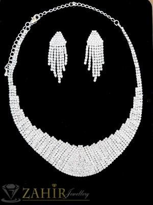Луксозен кристален комплект колие регулиращо се до 53 см обеци 5 см изцяло с бели кристали , сребърно покритие - KO1734