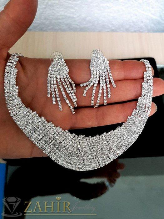 Дамски бижута - Луксозен кристален комплект колие регулиращо се до 53 см обеци 5 см изцяло с бели кристали , сребърно покритие - KO1734