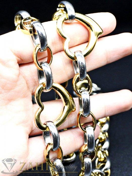 Дамски бижута - Висококачествен стоманен комплект с позлатени елементи, ланец 46 см и гривна в 4 размера - KO1783