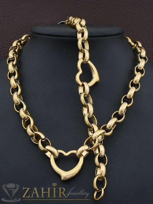 Висококачествен стоманен позлатен комплект със сърца, ланец и гривна в 4 размера - KO1788