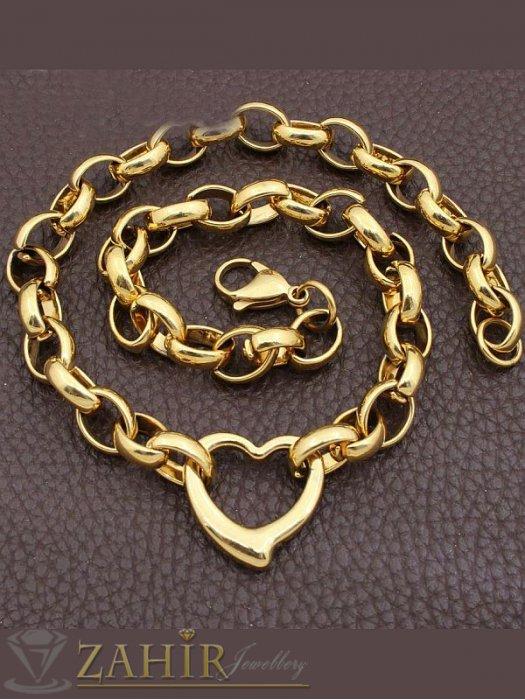 Дамски бижута - Висококачествен стоманен позлатен комплект със сърца, ланец и гривна в 4 размера - KO1788