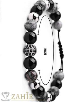 Дизайнерска гривна в сиво черен ахат 10 мм, регулираща се дължина - MA1061