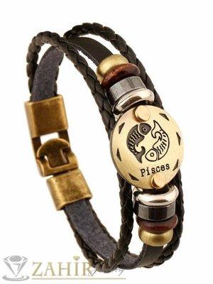 Класическа черна кожена гривна 21 см със зодия Риби и метални елементи - MG1139